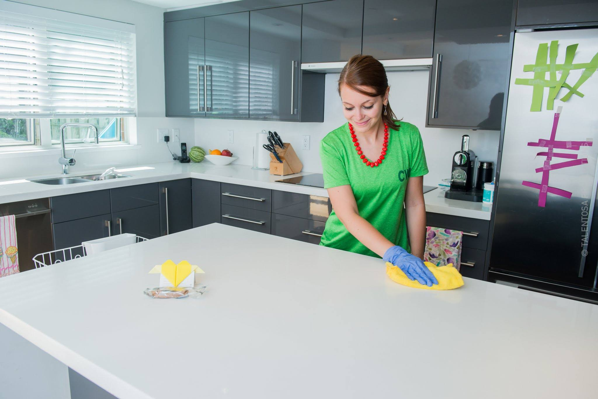Cleaner cleaning a kitchen in Vancouver